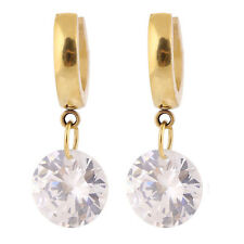 Classic 18K Gold Plated Circle With Big Diamond Stainless Steel Dangle Earrings