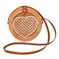 Round Wicker Straw Rattan Bag Women Heart Summer Hand Woven Beach Shoulder Purse