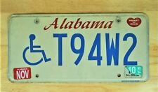 2010 ALABAMA HANDICAPPED HEART OF DIXIE  LICENSE PLATE AUTO CAR VEHICLE TAG 1591