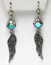 KIRKS FOLLY WINGED BEAUTY LEVERBACK EARRINGS silvertone / paradise shine crystal