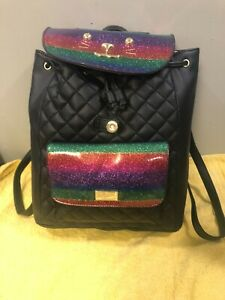 Betsey Johnson Rainbow Cat Quilted Back Pack Draw String NWT Retail $88