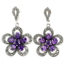 Sterling Silver 925 Large Genuine Marcasite & Natural Amethyst Flower Earrings