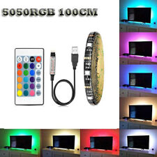 USB 5050 LED RGB Powered Strip Light Computer TV PC Backlight Lamps Remote Kit