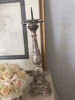 18th C Italian Silver Leaf Pricket Candlestick