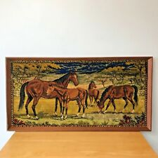 Vintage Horses Wall Hanging Art Large 40x21 Pasture Field Framed Rug Textured