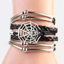 Silver Spider & Web Skull Infinity Bracelet Black Korean Leather