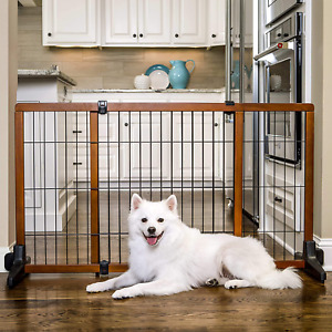Carlson Extra Tall Wide Adjustable Freestanding Pet Gate Premium Wood 70-Inch