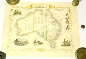 2005 Print of 1851 Illustrated Map of Australia John Tallis - J Rapkin 38x28cm