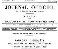 Air France Boeing 707 Accident, Orly, 1962 (Accident Report, Copy in French)