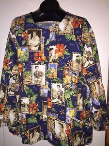 ELVIS PRESLEY CHEROKEE Nurse Doctor Scrub Jacket Size 3X 3XL HAWAIIAN KING