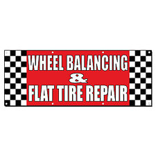 WHEEL BALANCING & FLAT TIRE REPAIR Body Shop Banner Sign 3' x 6' /w 6 Grommets