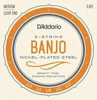 D'Addario EJ61 5 String Banjo Nickle Medium 10-23 j61
