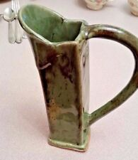 Cindy Bee signed original glossy medium green slanted pottery pitcher EC!