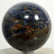 """2.3"""" Blue Sodalite Sphere Polished Gemstone Crystal Mineral Ball Africa + Stand"""