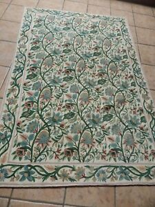 """BEAUTIFUL CREWELL EMBROIDERY PASTEL FLOWERS RUG, WALL HANGING 72"""" X 50"""""""