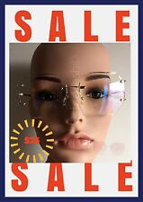 OVERSIZE Classic VINTAGE RETRO Style Clear Lens Sun Glasses Rimless Gold Frame