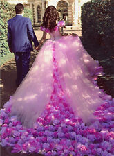 New Pink Off Shoulder Wedding Dresses Lace Up Back Bridal Gown With Flowers 2017