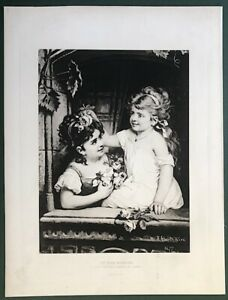 """Original Lithograph  1880's  Litho of Young Girls """" At the Window """" by A Ebert"""