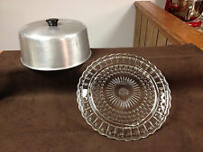Vintage Glass Cake Plate With Etched Pine-cones Aluminum Metal Lid Cover