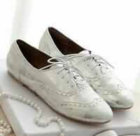 Womens Casual Lace Up Round Toe Flat Brogues Oxfords Solid Fashion Shoes Comfort