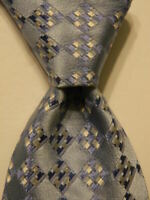 FACONNABLE Mens 100% Silk Necktie ITALY Luxury Designer Geometric Blue/White EUC