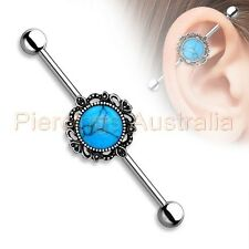 14G 38mm Turquoise Stone Industrial Barbell Ear Ring Body Piercing Jewellery