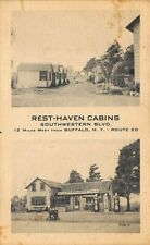 Buffalo NY Rest-Haven Cabins Gas Station Duo-View Postcard