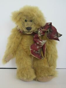 """12"""" Mohair Beaded Stuffing Jointed Teddy Bear w/ Partial Tag (Great Condition)"""