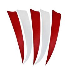 """50pcs 5"""" White/Red Shield Shape Turkey Feathers Arrow Fletching Right Wing"""