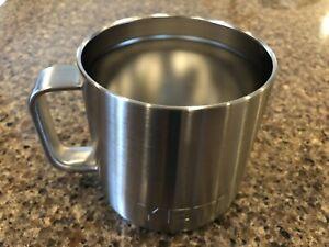 YETI 14 oz Silver Stainless Steel Rambler Mug Insulated Metal w/Lid Good Cond