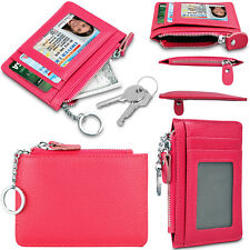 Genuine Leather RFID BLOCKING ID Window Card Holder Zipper Coin Purse+Key Chain