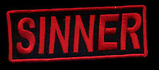 Sinner Patch red Novelty Badge Motorcycle Biker Vest Jacket