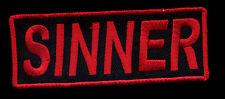 Sinner Patch red Novelty Badge Motorcycle Biker Vest Jacket