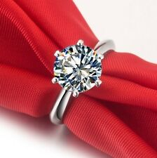 Hearts and Arrows 2 Carat NSCD Diamond Ring Sterling Silver Platinum Finish