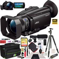 Sony FDR-AX700 4K HDR Handycam Camcorder w/ Tripod & Deco Gear Case Mic Pro Kit