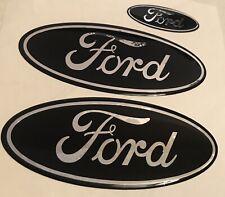 Ford Fiesta Mk7  Gel Badge Overlay Full Set , Black / Chrome