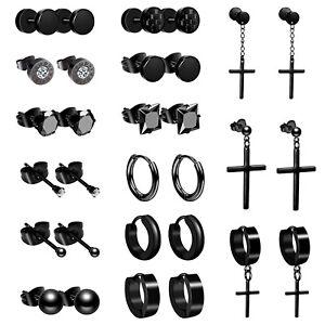 15 Pairs Men Women Stainless Steel Huggie Hoop Piercing Stud Earrings Set