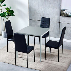 Modern Glass Dining Table and 2/4 Chairs Set Faux Leather Home Kitchen Furniture