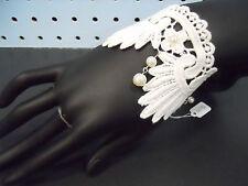 White Lace Bracelet Vintage Victorian Gothic Wedding Lolita Pearl Bracelet