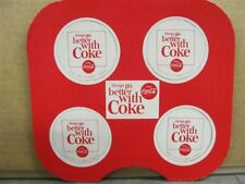 COCA COLA-two (2) 1960's Cardboard Cup/Bottle Carrier with 4 Coasters