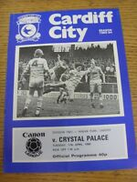 17/04/1984 Cardiff City v Crystal Palace  (Crease, Fold)
