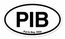 "PIB Put In Bay Ohio Oval car window bumper sticker decal 5"" x 3"""