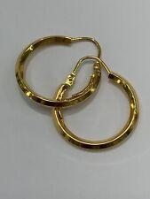 18ct 18K Yellow Gold Round Hoop Hook Earrings 19mm 1.7 Grams. New