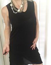 TS WOMENS TOP TUNIC DRESS OVERLAY BLACK NYLON SLEEVELESS SZ S