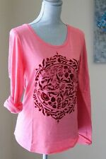 NWT LUCKY BRAND WOM M MEDALION FLORAL TOP SHIRT TEE RED CORAL TUNIC LONG SL