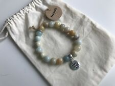 Yoga Amazonite Lotus Flower Charm Elasticated Bracelet Yogi New in Gift Bag