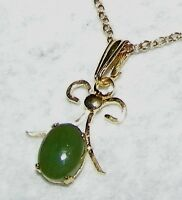 EXQUISITE HAND CRAFTED JADE PENDANT WITH 18 INCH CHAIN