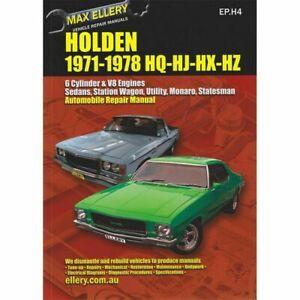 Holden HQ HJ HX HZ Workshop Repair Manual 6cyl V8 1971 - 1978 book