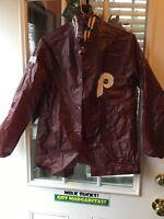 Vintage Burgundy Red Philadelphia Phillies MLB Vinyl Rain Jacket Slicker