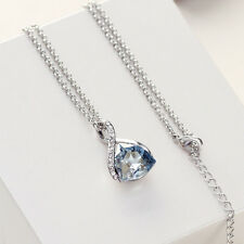 Swarovski Element Crystal Sparkly Silver Blue Necklace Chain Pendant Jewellery